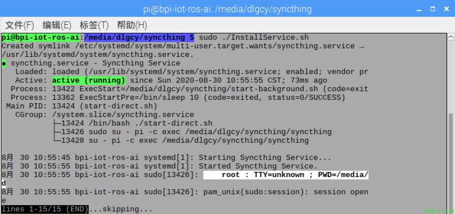 在香蕉派的树莓派系统上配置 Syncthing 自启动插图6