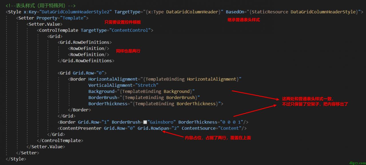 WPF DataGrid 通过自定义表头模拟首行固定插图4